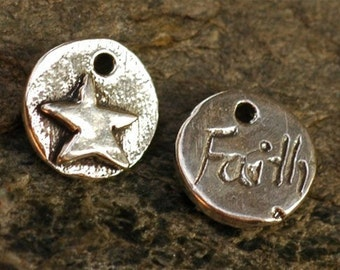 Two Faith Inscribed STAR Charm in Sterling Silver