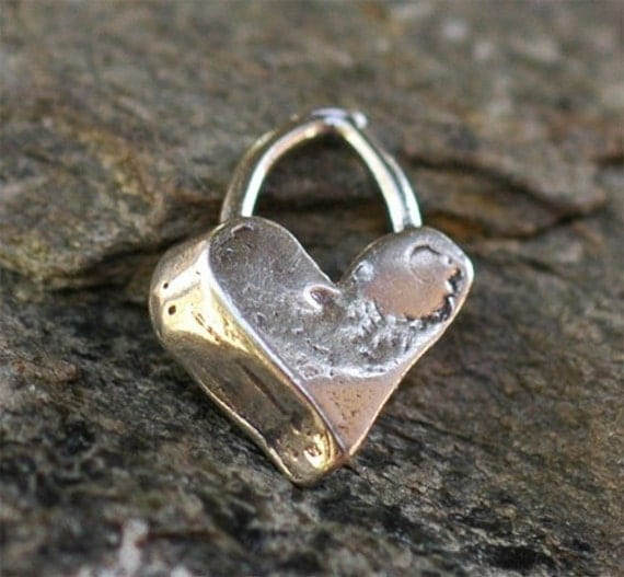 Artisan Sterling Silver Heart Charm with Angled Edge
