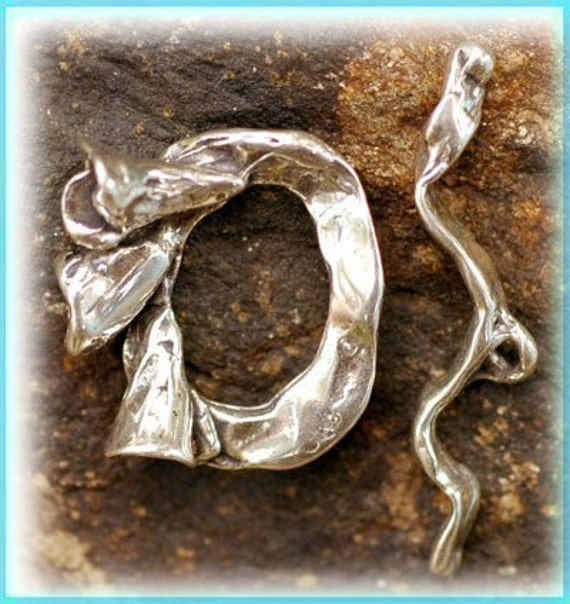 Artisan Lily Floral Sterling Silver Toggle