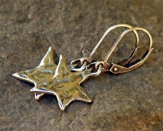 Rustic Sterling Silver Star Earrings