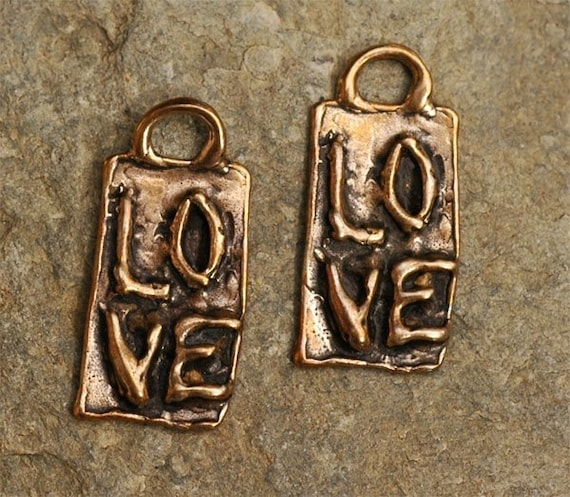 TWO of Our Own Signature LOVE on a Rectangle Charm in Rose Bronze Metal