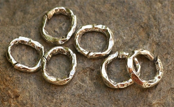 Three Rustic Textured Organic Jump Rings in Sterling Silver