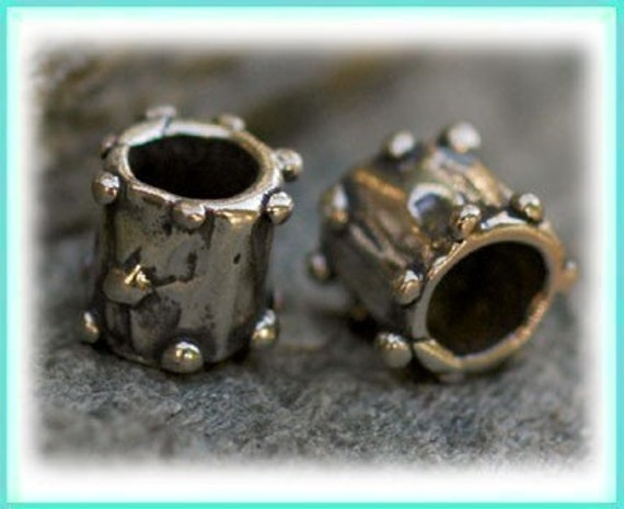 TWO Knobby Rimmed Large Hole Sterling Silver Slider Bead