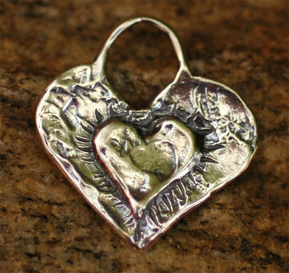 Layered Heart Charm in Sterling Silver, D134