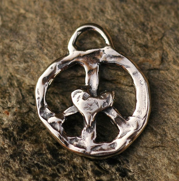 Peace Charm with Heart in Sterling Silver, AD-198
