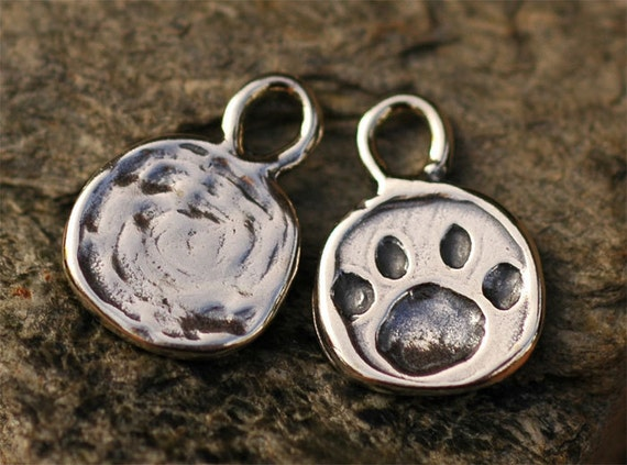 Two Paw Print Charms in Sterling Silver, Dog Paw Print,  CH-190