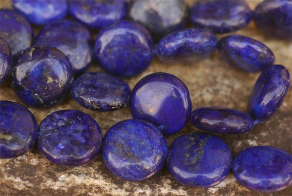4 Lapis Coin Shaped 15mm Gemstone Beads