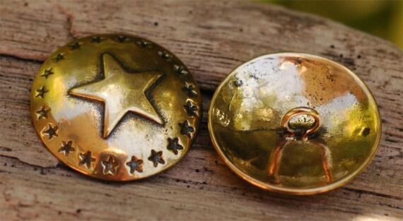 Artisan SouthWest Navajo Star Button in Gold Bronze JT-Star