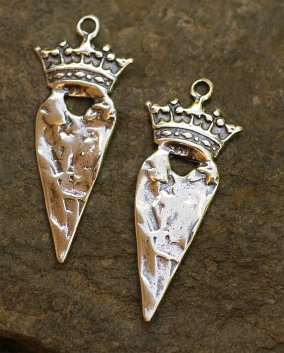Long on Heart Charm with Crown in Sterling Silver, D-225