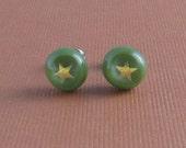 Fused Glass Earrings- See Stars Green