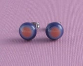 Fused Glass Post Earrings- Pink and Purple Dot
