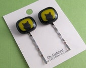 Fused Glass Bobbypins- Cat Face