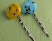 Fused Glass Bobbypins- Blue and Yellow Spreckles
