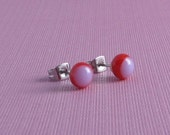 Fused Glass Post Earrings- Lavender and Red