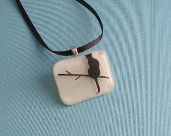 Fused Glass Pendant Necklace- Tree Cat