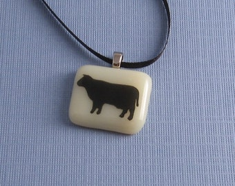 Fused Glass Pendant Necklace- The Cow