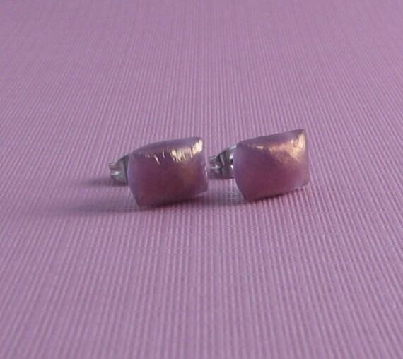 Fused Glass Post Earrings- Mauve Shimmer