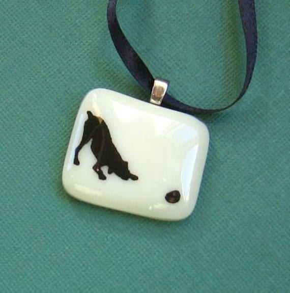 Fused Glass Pendant Necklace- Ball Dog