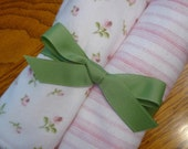 Burp cloth set, baby girl, pink rosebud stripe flannel with minky
