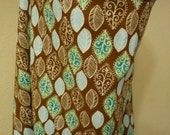 Nursing cover with burp cloth set, leaves on brown print