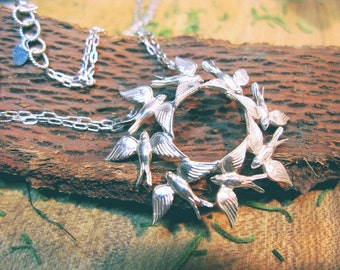You Are The Only One For Me Circling Swallow Sterling Silver Necklace
