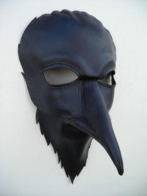 Raven mask/original handmade leather mask Halloween masquerade mardi gras Steampunk pagan Samhain burning man mask