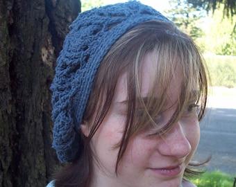 Trilobite tam beret in denim blue recycled cotton acrylic blend yarn