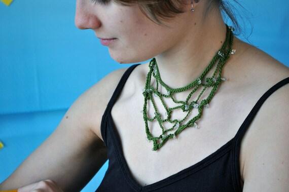 Green cotton and clear quartz bib necklace