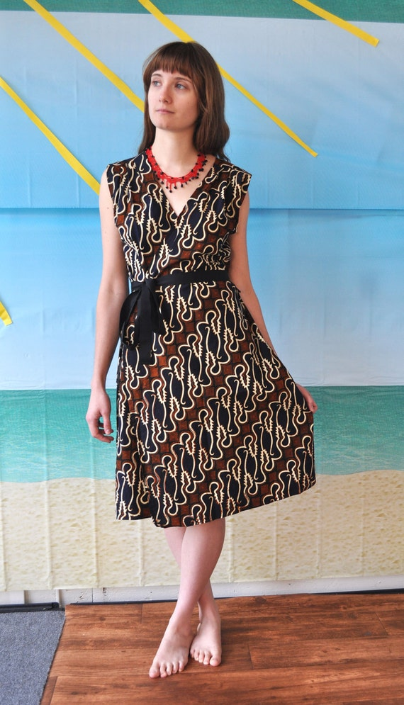Batik-printed wrap dress in diagonal waves of black, ivory, tan, and navy, One of a kind