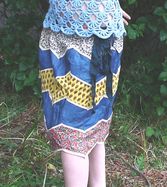 Patchwork diamonds skirt in cotton cambray and printed paisleys - ON SALE - 50 percent off
