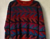 Vintage 80's Red Missoni Wavy pattern color block sweater jumper