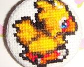 Final Fantasy Chocobo Cross Stitch Pin \/ Magnet