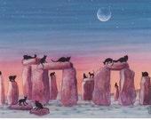 Black Cats on Stonehenge Print of Original Painting