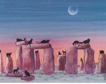 Black Cats on Stonehenge Print of Original Painting