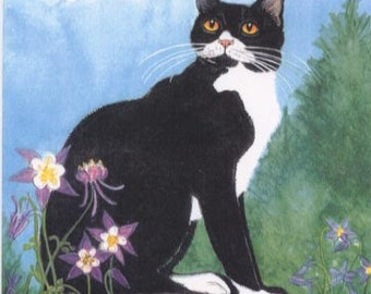Black & White Tuxedo Cat  print of an original painting