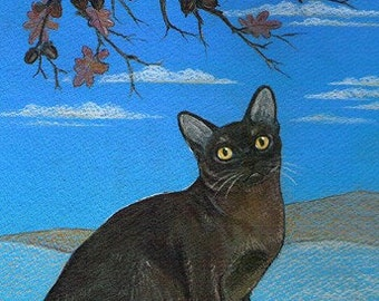 Sable Burmese Cat print of an original painting
