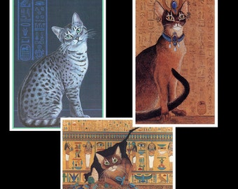 Set of 3 Egyptian Cat Art Magnets, Abyssinian Cat, Egyptian Mau Cat