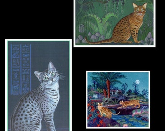 Set of 3 Cat Art Magnets, Spotted Cats, Egyptian Mau, Bengel, Occicat