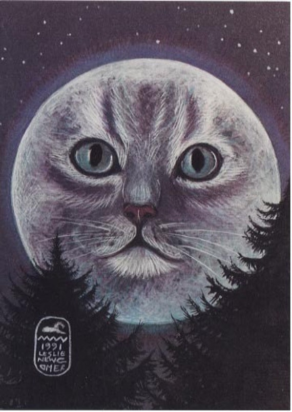 Cat in the Moon - Moon Goddess Print of an original painting