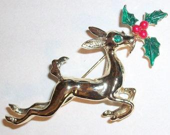 Vintage Deer Reindeer Brooch / Pin