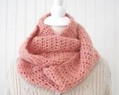 Crochet infinity scarf romantic rose