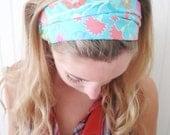 Cotton headband, reversible headscarf ( green wtih white flowers, brown polka dots )