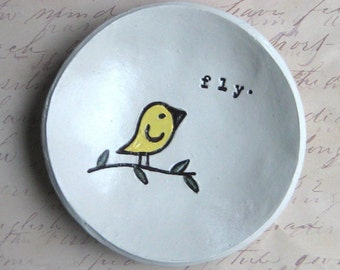 Encouragement Gift: Catch All Dish, Pesonalized Bowl, Ring Dish, Graduation Gift, Fly Bowl,