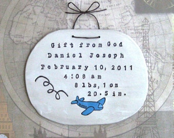 Birth Announcement: Airplane Decor, Custom Sign, Personalized Baby Gift, Baptism Gift, Wall Hanging
