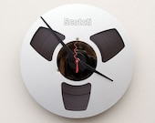 clock made from a recycled magnetic tape reel