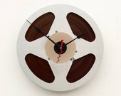 Recycled Scotch Aluminum magnetic tape reel Clock