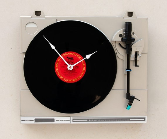 Clock created from a recycled Pioneer Turntable