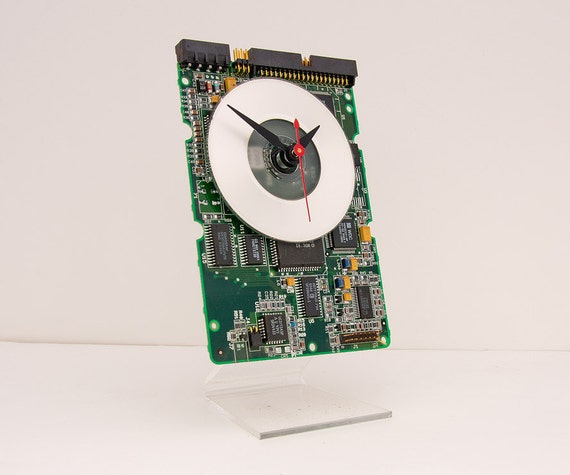 Clock made from a Computer Hard Drive Circuit board