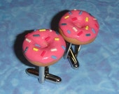CUFFLINKS Pink Iced Donuts
