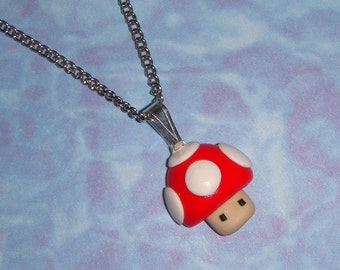 NECKLACE - Nintendo Super Mario brothers mushroom - pick any color